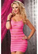 Riot Girly- Net Striped Dress -pink Os